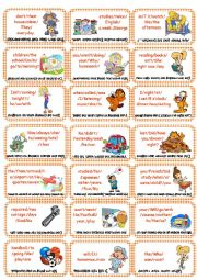 English Worksheet: Ordening senteces Cards game