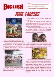 English Worksheet: June Parties in Brazil.