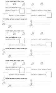 English worksheet: Toys (vocabulary + have got) - Simple test