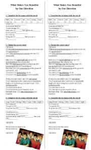 English Worksheets: What Makes You Beautiful by One Direction