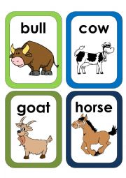 English Worksheets: Farm Animals Flash Cards #3