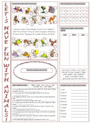 English Worksheets: Let�s Have Fun With Animals!