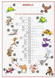 English Worksheet: Animals Crossword Puzzle