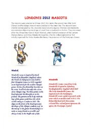 English Worksheet: 2012 London�s mascots