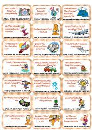 English Worksheets: Ordening sentences Card Game (Higher Level)