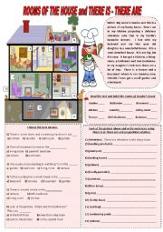 English Worksheets: Rooms of the house - There is and There are