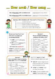 English Worksheet: How much / How many ( with some-any-a lot of-a few-a little)