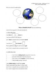 English Worksheets: WHAT A WONDERFUL WORLD!