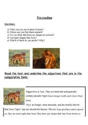 English Worksheet: Reading comprehension animals and comparative form