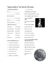 English Worksheet: Stevie Wonder Superstition listening worksheet
