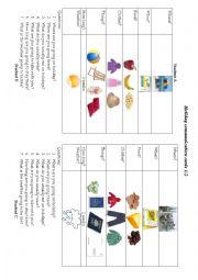 English Worksheets: Holiday communication game 1/2