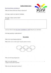 English Worksheet: London Olympic games webquest