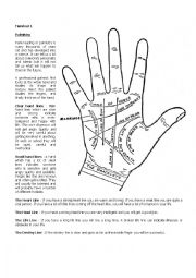English Worksheet: Palmistry - The art of palm reading