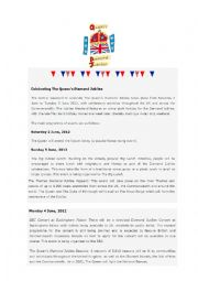 English Worksheets: Reading Comprehension - Diamond Jubilee Activity