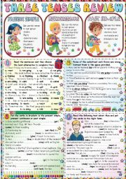 English Worksheet: THREE TENSES REVIEW (PRESENT SIMPLE-PRESENT CONTINUOUS-PAST SIMPLE) -THE KEY IS INCLUDED