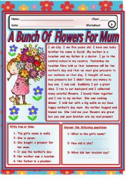 English Worksheet: A  Bunch Of  Flowers For  Mum