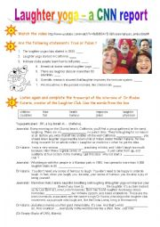 English Worksheet: Laughter Yoga - A CNN report