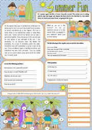 English Worksheet: Summer Fun