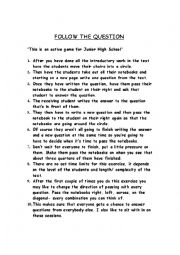 English Worksheets: FOLLOW THE QUESTION
