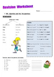 Revision worksheet for mixed topics