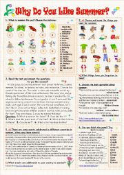 English Worksheet: Why Do You Like Summer?