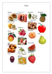 English worksheet: Fruits Pictionary - Part 2 - 2/2