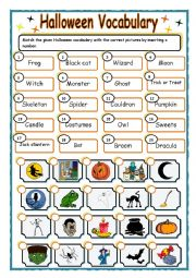 English Worksheets: Halloween vocabulary_matching