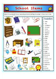 English worksheet: My school items Vocabulary! (My own Pictures)