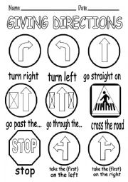 English Worksheet: GIVING DIRECTIONS PICTURE DICTIONARY