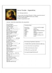 English Worksheets: Superstition by Stevie Wonder