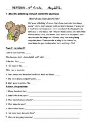English comprehension worksheets for grade 3 and 4