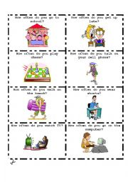 English Worksheet: Talking Cards-How often do you? 1 of  3