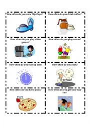 English Worksheet: Talking cards-How often do you? 2 of 3