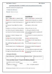 Worksheet Sonnet Worksheet english worksheet sonnet 18 shakespeare