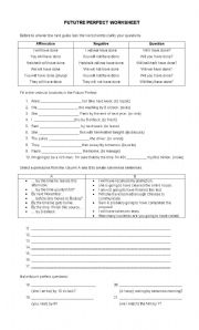 English Worksheet: Future Perfect