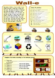 English Worksheets: Wall-e Worksheet (Reading comprehension + prepositions + there is/are)