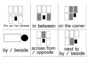 English Worksheet: Flashcards - Prepositions & Directions