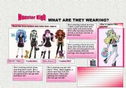 Printables Monster High Worksheets clothes description monster high english worksheet high