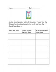 English Worksheets: Amelia Bedelia