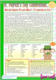 English Worksheet: ST. PATRICK�S DAY CELEBRATIONS.