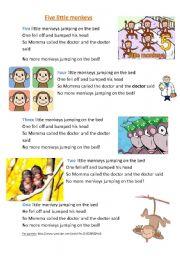 English Worksheet: Five little monkeys song