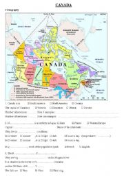English Worksheet: Canada Webquest