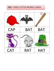 english worksheet three letter words flashcards