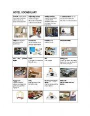 English worksheet: HOTEL VOCABULARY