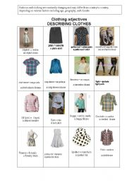 English worksheet: CLOTHING ADJECTIVES AT THE DUTY FREE