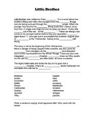 English Worksheets: Little Brother fill in the gaps