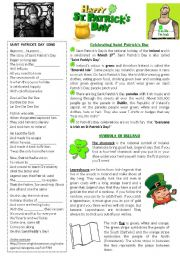 English Worksheets: St. Patrick´s Day worksheet 2 pages: with SONG, READING and WORDSEARCH --> KEY INCLUDED!!!!