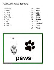 English Worksheet: Flashcards - Animal Body Parts, Part 3 of 4