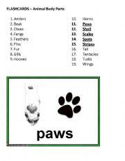 English Worksheets: Flashcards - Animal Body Parts, Part 3 of 4