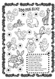English Worksheets: ZOO Egg Hunt